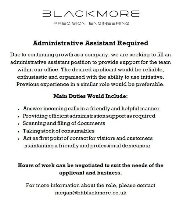 Blackmore Administrative Assistant.