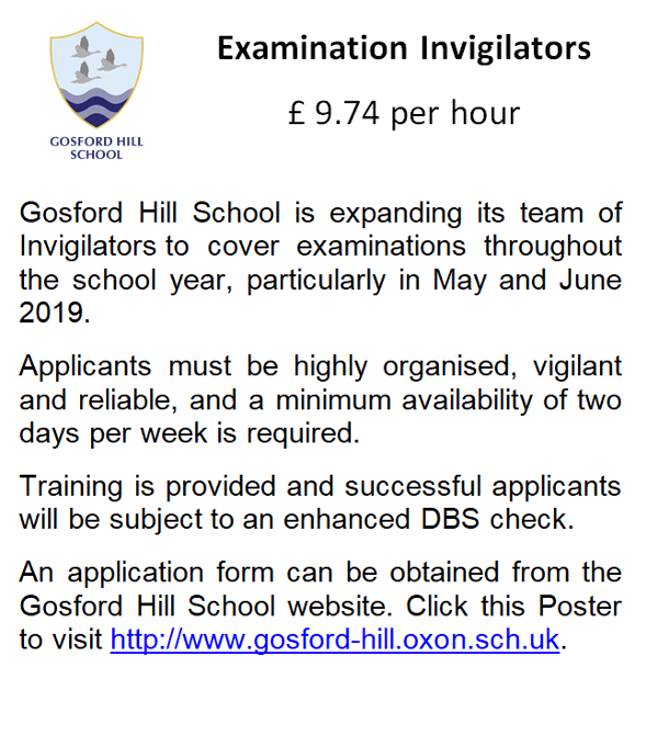 Invigilators Gosford Hill School.